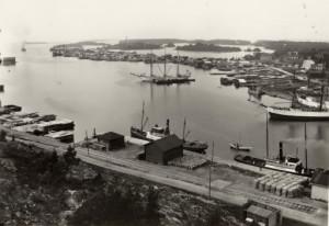 Suojan satama Kiikartornista kuvattuna 1910-luvulla. Rauman museon kuvat.